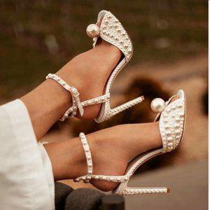 FSJ White Pearls Ankle Strap Bridal Sandal Size4.5